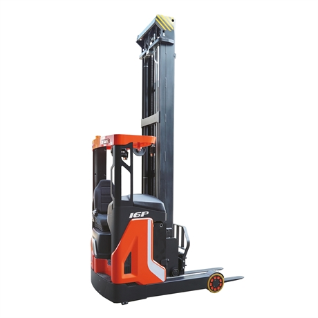Reach truck with 1600 kg nominal capacity and up to 9500 mm standard lift