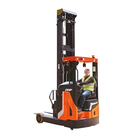 Reach truck with 2000 kg nominal capacity and up to 9500 mm standard lift