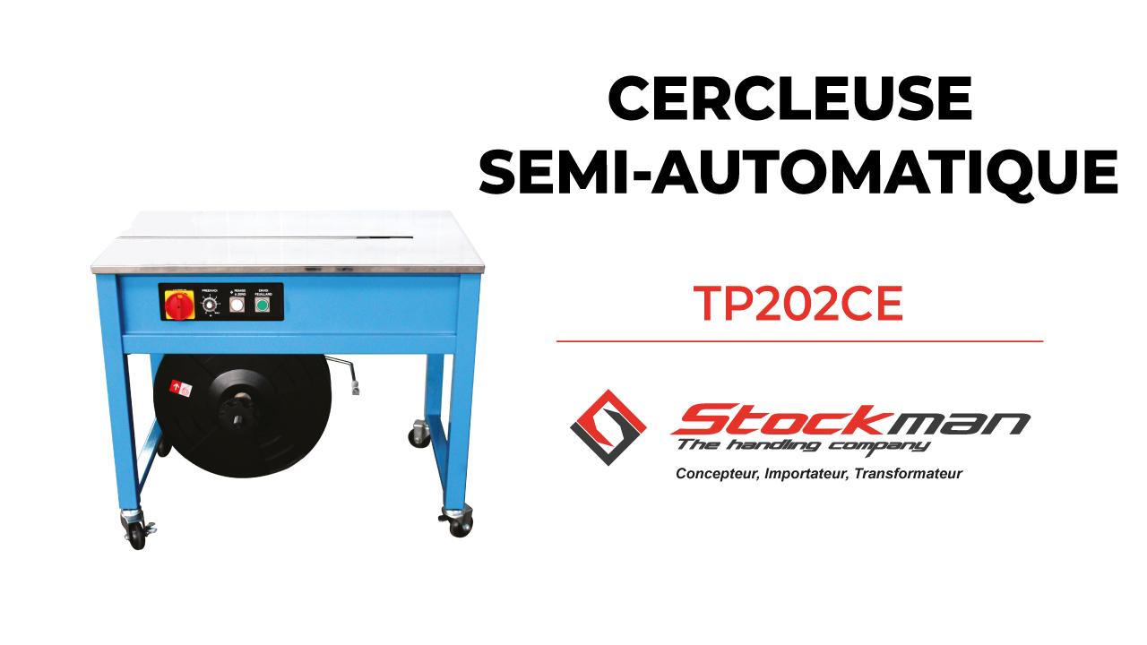 The TP202CE semi-automatic strapping machine