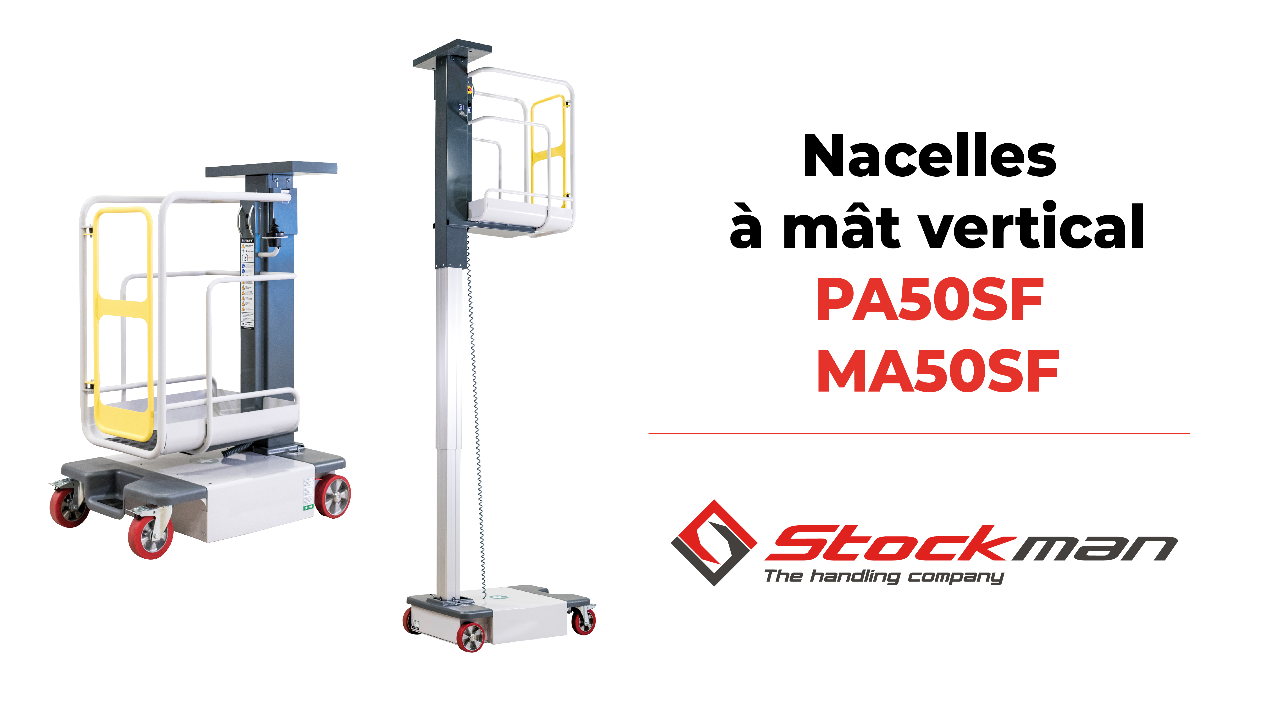 Manual and motorized mini mast lift with 4950mm working height, MA50SF and PA50SF