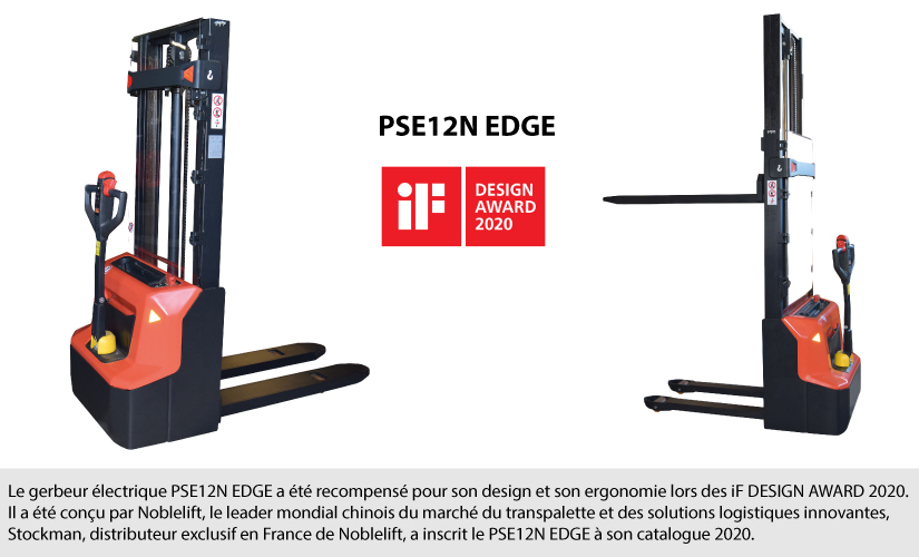PSE12N electric stacker awarded for design and ergonomics at iF DESIGN AWARD 2020
