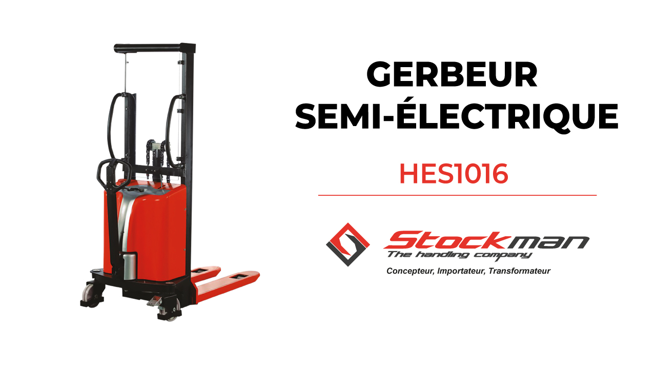 The HES1016 semi-electric stacker (1 ton)