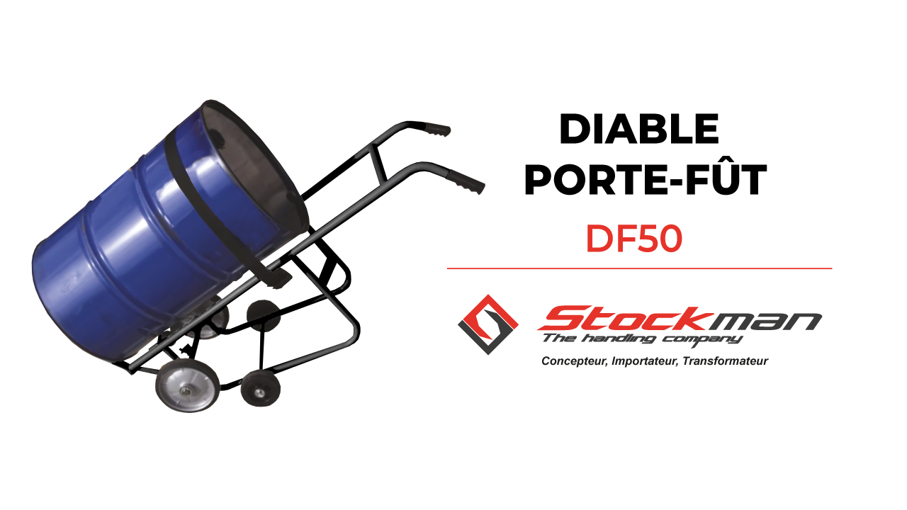 DF50 steel drum trolley with tilting assistance designed for the wine industry.
