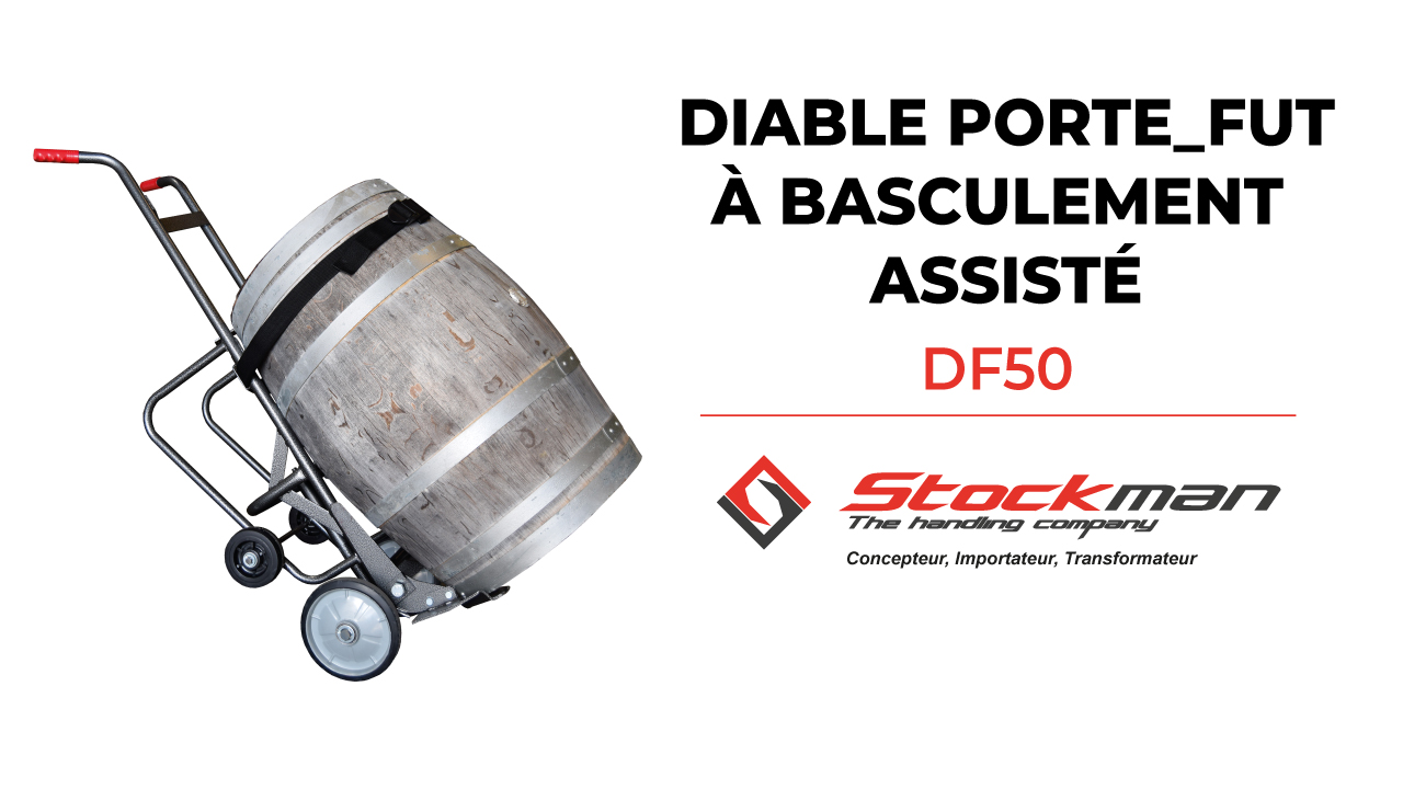 DF50 steel drum trolley with tilting assistance designed for the wine industry