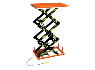 Tables élévatrices électriques fixes triple ciseaux