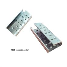 Chapes semi-ouvertes renforcées pour feuillards 12 mm PP et PET -