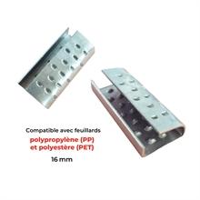 Chapes  semi-ouvertes renforcées pour feuillards PP et PET 16 mm -