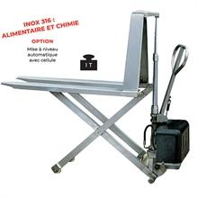 Transpalette électrique haute levée inox 316 largeur 1000 kg -