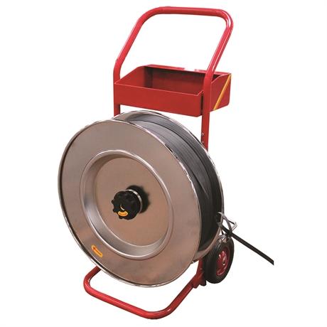 H84 - Dévidoir mobile pour feuillards polyester ou acier trancanné, diamètre du mandrin 406 mm H84