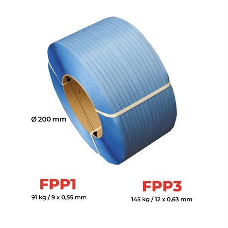PP15.5x0.75T406 - Feuillard polypropylène noir resistance 297 kg