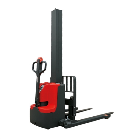 Electric walkie stacker with mast and straddle legs 1000 kg