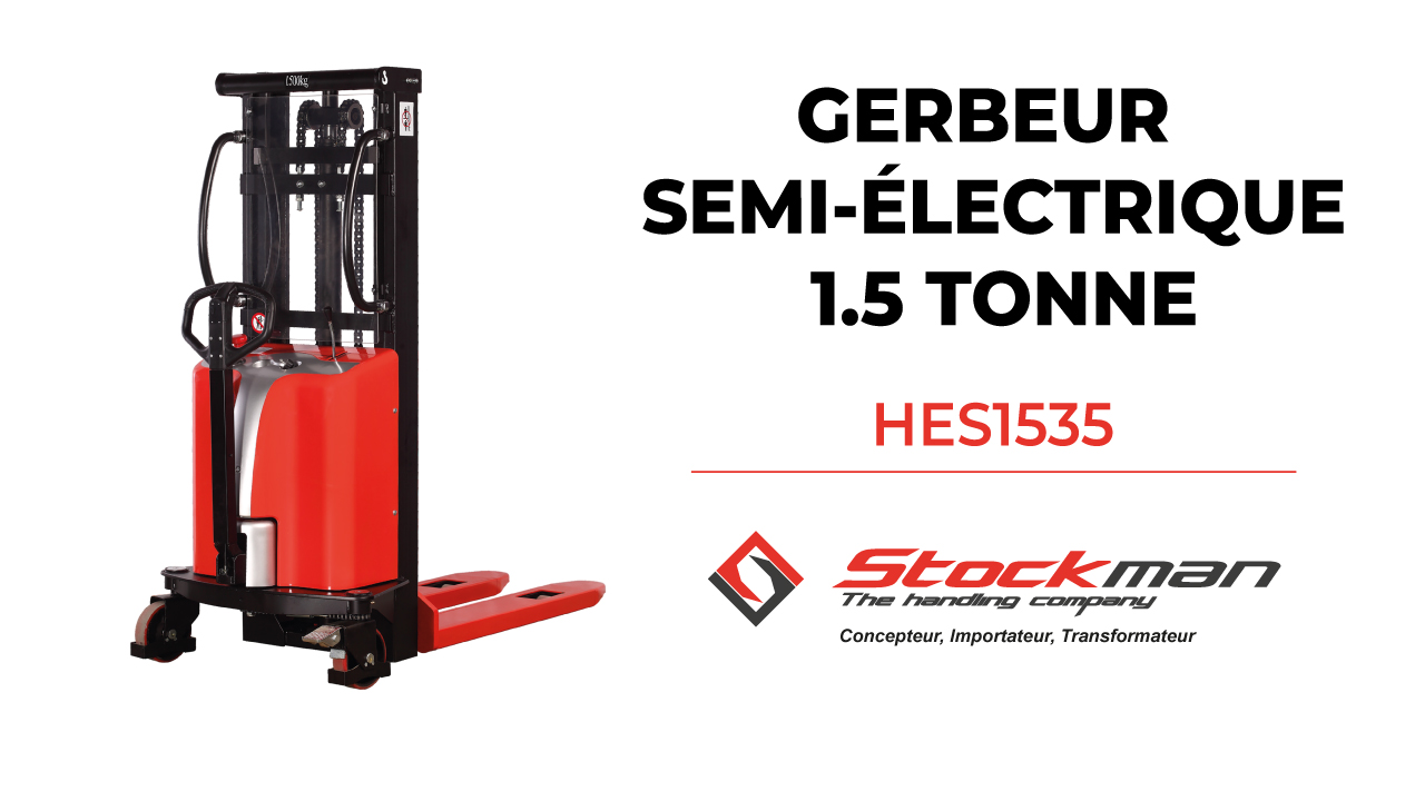 The HES1535 semi-electric stacker (1.5 ton)